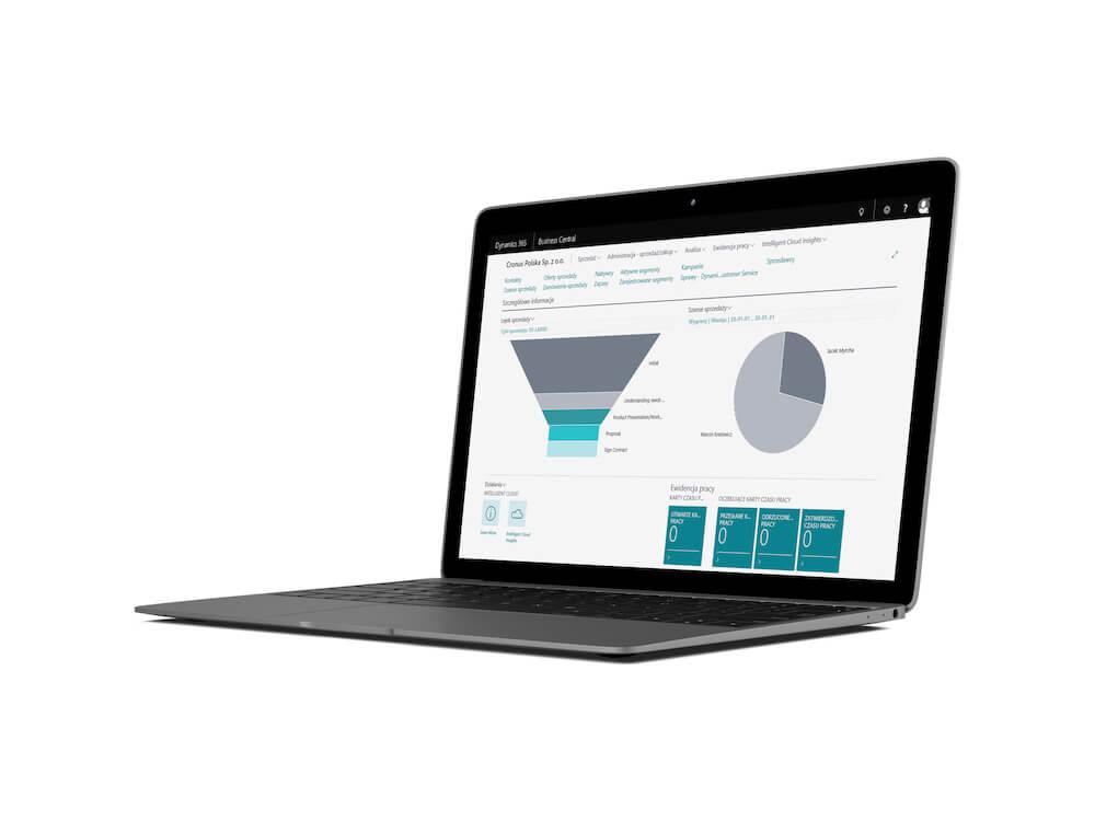 Laptop przedstawiający dashboard systemu ERP Microsoft Dynamics 365 Business Central.