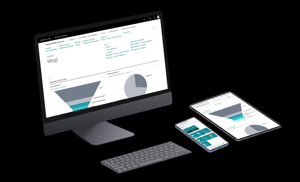 Dashboard systemu ERP Microsoft Dynamics 365 Business Central na komputerzei urządzeniach mobilnych.