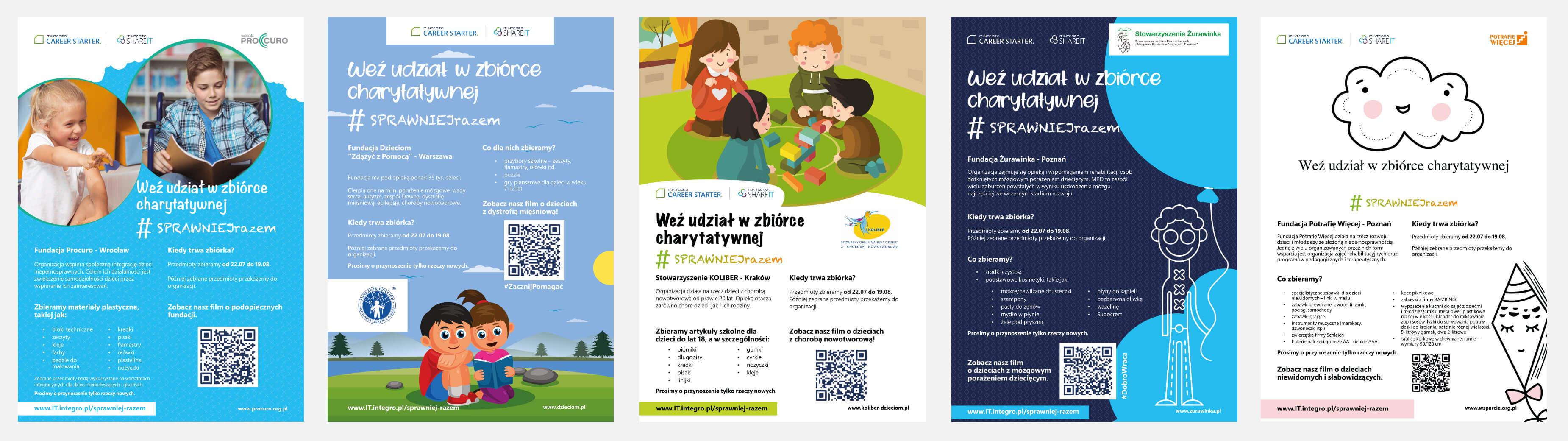 Plakaty promujące zbiórkę charytatywną w IT.integro